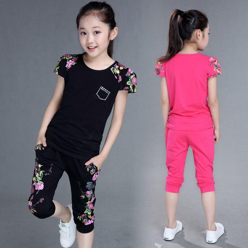ילדי בגדי סטי קיץ בנות ספורט חליפת כותנה הדפסה קצר שרוול חולצה + מכנסיים 2 יחידות בנות בגדים 4 6 8 10 12 13 שנים