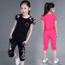 Conjunto de ropa deportiva para niñas, camiseta de manga corta con estampado de algodón y pantalones, ropa para niñas de 4, 6, 8, 10, 12 y 13 años, 2 uds.