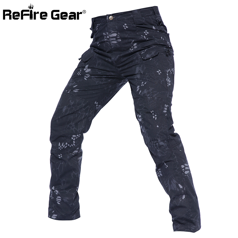ReFire Gear New IX7 Waterproof Tactical Cargo Pants Men Multi Pocket Rip-Stop Camouflage Military Pants SWAT Combat Army Trouser