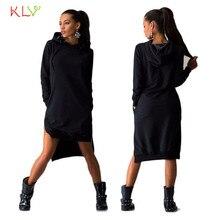 Dress Women  Sweatshirt Dress Double Split Hoodie Pullover Pockets Sweater Mini Dress   17SEP21