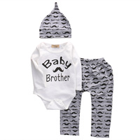 3PCS Infant Newborn Baby Girls Boys Clothes Cute Cotton Romper Long Pants Hat Outfits Bebes Toddler