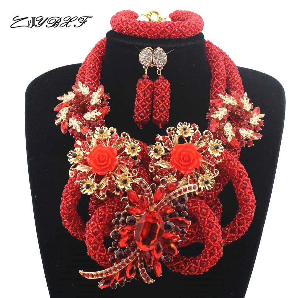 New Red Latest Fashion Crystal Beads Jewelry Set Costume Nigerian Wedding Indian African Bridal Jewelry Sets