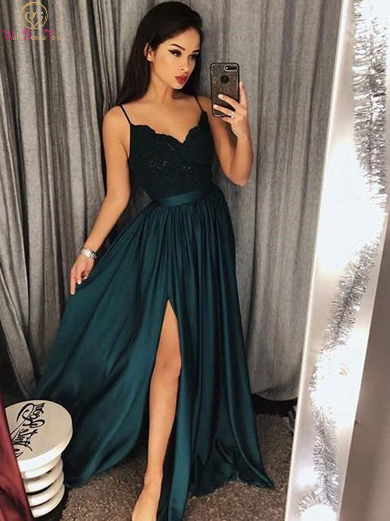 Hunter Green Split A Line   Evening     Dresses   2019 Women V Neck Spaghetti Straps Lace Formal Party Elegant Long Gowns robe de soiree