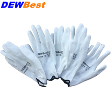 DEWBest  New Arrival 12 Pairs Black Nylon PU Safety Work Gloves Builders Grip For Palm Coating and Coated Finger Gloves