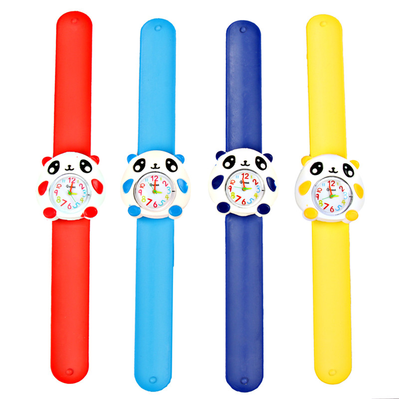Big Face Panda Cartoon Animal Soft Silicone Quartz Cute Watch For Boy & Girl Student Wristwatch Children Watches Puzzle Toys