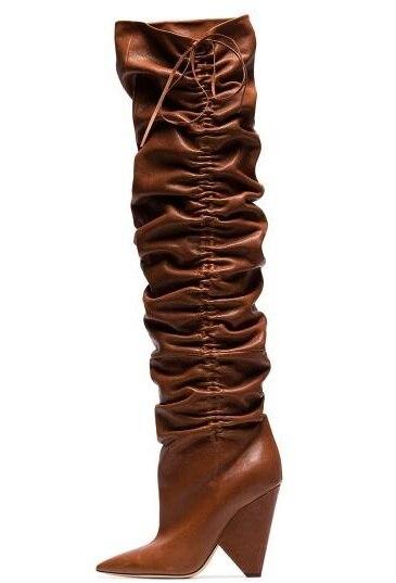 Cono Zapatos De Tamaño Marca Punta Nueva Botas Dama Plegable As Por Marrón Grande Largas Picture Rodilla Cuero Otoño Encima Mujeres La Chocolate Muslo fwwY8