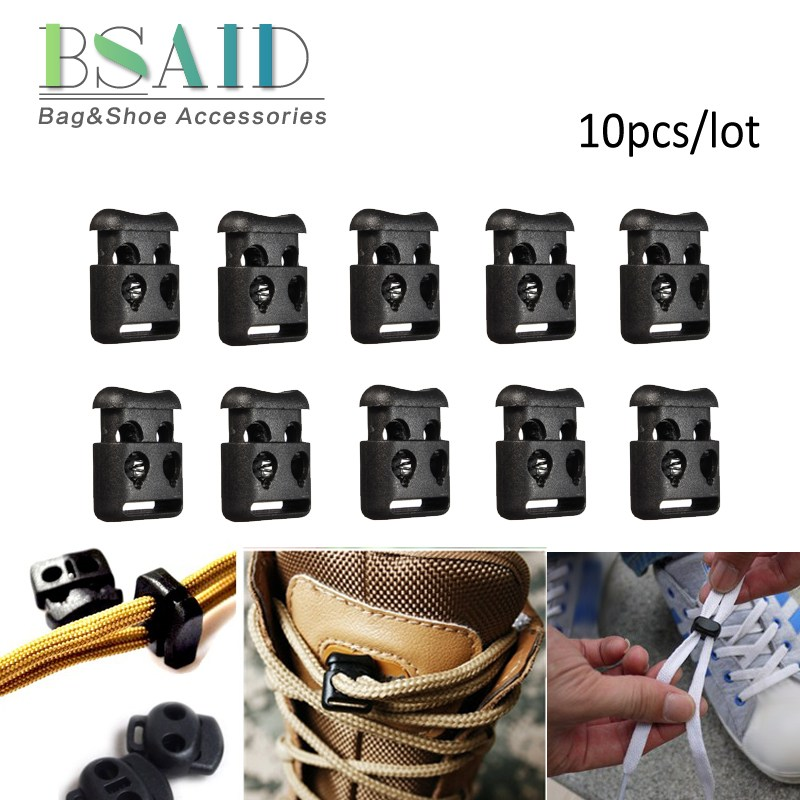 BSAID 10pcs/lot Shoelace Buckle 4mm Hole Cord Locks Bean Toggle Clip Plastic Stopper Cord Lock For Sport Camping Motorcycle Shoe n 1 50 sets orange yellow buckle elastic shoes buckles hole plastic stopper toggle clip apparel shoelaces sportswear accessorie