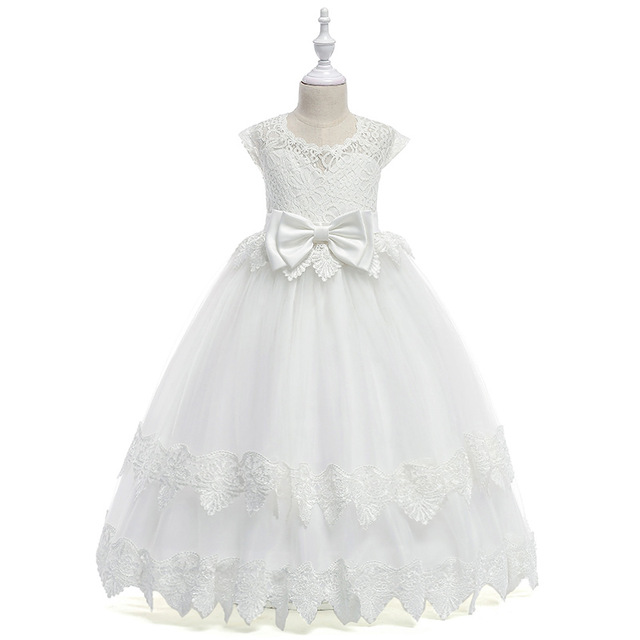 Lace Hollow Heart Neck Princess Gown Communion Long White Elegant   Flower     Girls   Pink   Dresses   With Bow 2019