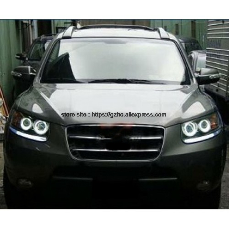 For Hyundai Santa Fe Santafe 2007 - 2012 Ultra Bright Day Light DRL CCFL Angel Eyes Demon Eyes Kit Warm White Halo Ring