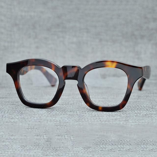 6acba2b7308 Cubojue Acetate Glasses Men Women Vintage Thick Eyeglasses Frames Man  Prescription Black Tortoise Eyeglass Myopia Diopter