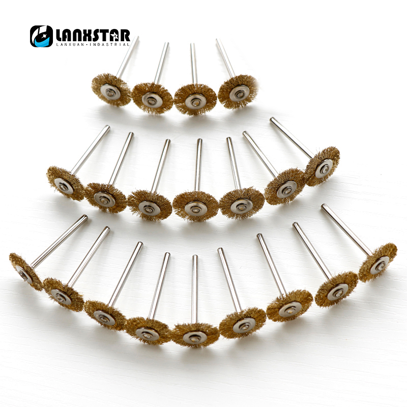 Durable 20PCS Kit Brass Wire Wheel Dremel Accessories For Rotary Tools Copper Wires Grinding Brush 16pc brass bristle wheel brushes for dremel accessories for rotary tools