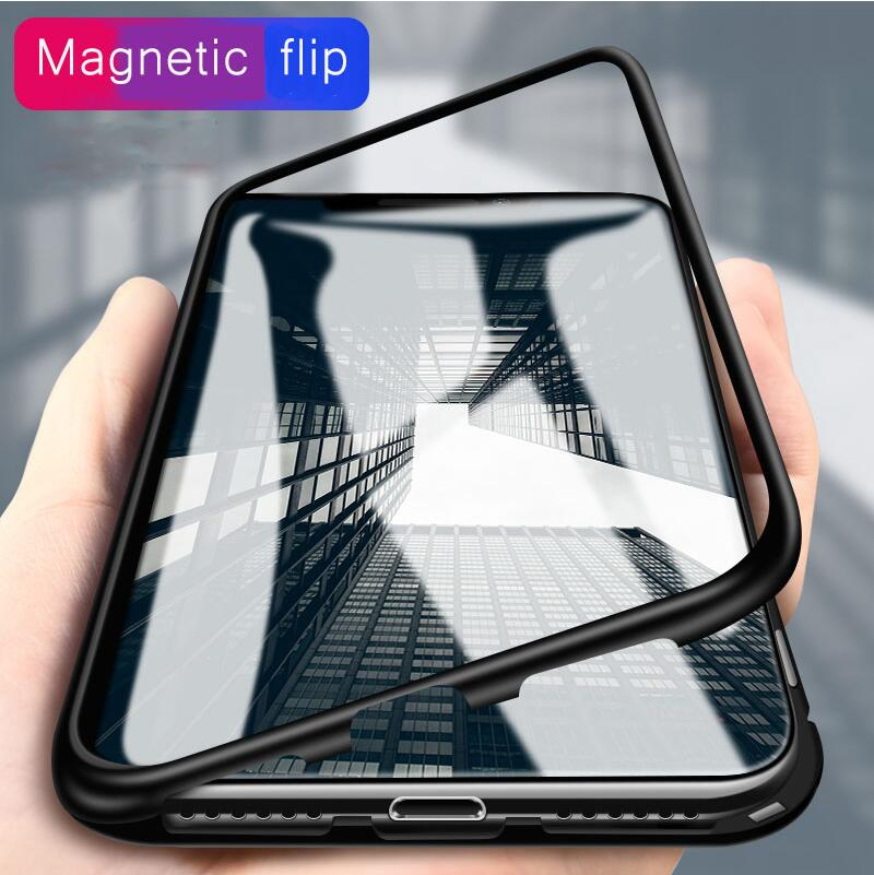Built-in Magnet Case for iPhone X 8 7 Plus Clear Tempered Glass Magnetic Adsorption Case for iPhone 7 8 Metal Ultra Cover bumper