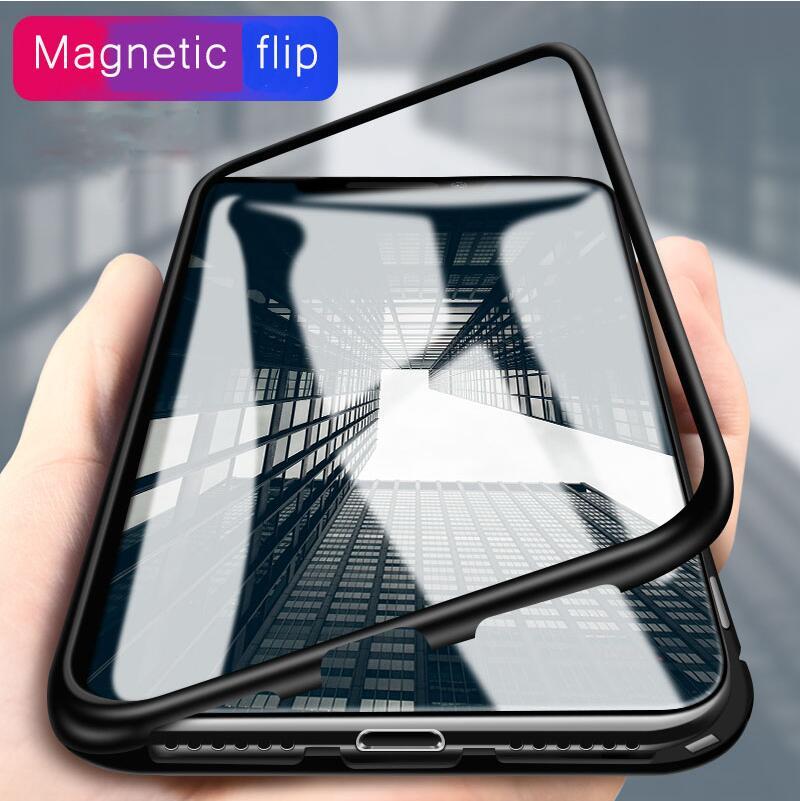 Caso Ímã embutido para iPhone X 8 7 Mais Claro Temperado vidro Adsorção Magnética Caso para o iphone 7 8 Tampa de Metal Ultra bumper
