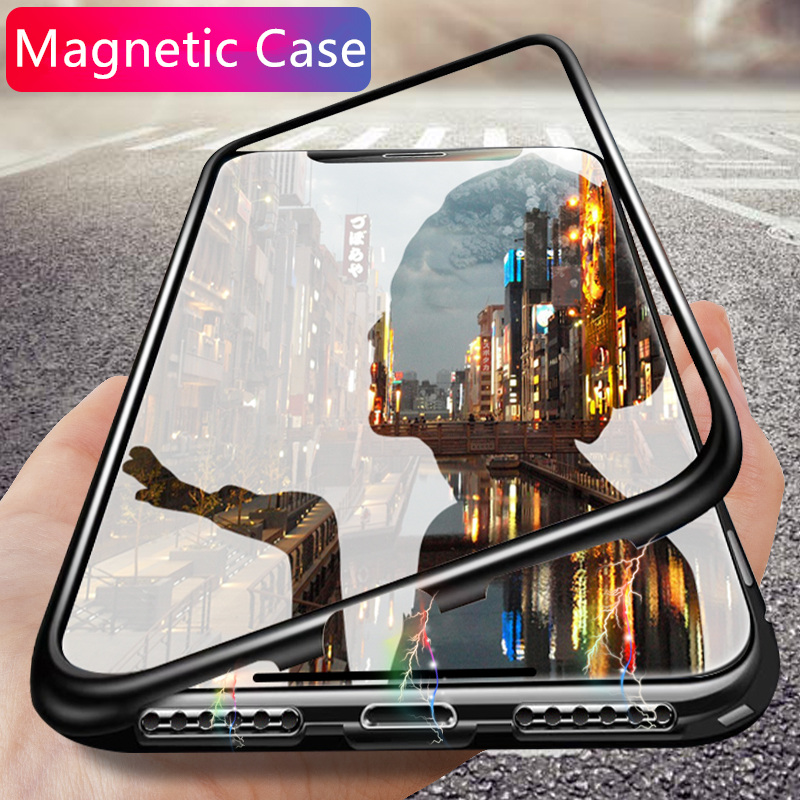 Luxury Magnetic Adsorpti Phone Case On The For Huawei P20 Pro P20 Shockproof Cover For Huawei Mate 20 Lite Glass Hard Back Case(China)