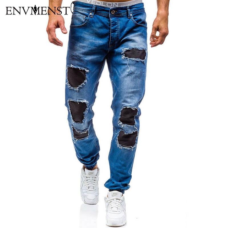 Envmenst 2017 New Arrival Men Slim Zipper Denim Trousers Ankle Elastic Men Leisure Cotton Hole Patchwork Designer Jeans