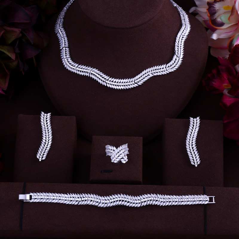 Luxury Women Jewels Elegant Shape Bridal CZ necklace earrings bracelet ring 4pcs Big Wedding Jewelry Sets For Bride a suit of elegant red rhinestone bamboo necklace bracelet ring and earrings for women