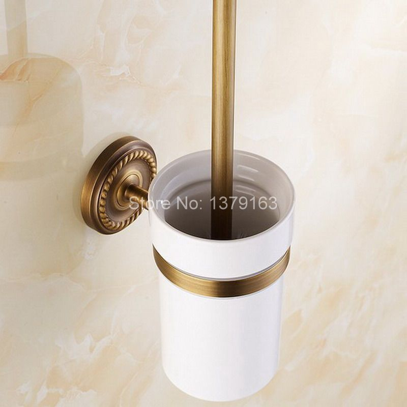 Vintage Retro Antique Brass Wall Mounted Toilet Brush & Holder Set White Brush Ceramic Cup Bathroom Accessory aba271 simple bathroom ceramic wash four piece suit cosmetics supply brush cup set gift lo861050