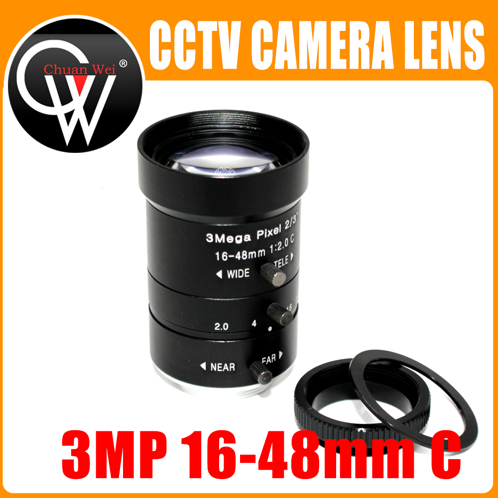 3 Mega pixel 16-48mm LENS C/CS Mount 3Mega Pixel 2/3 F2.0 HD Industrial lens Vari-Focal Manual Iris CCTV Lens цена
