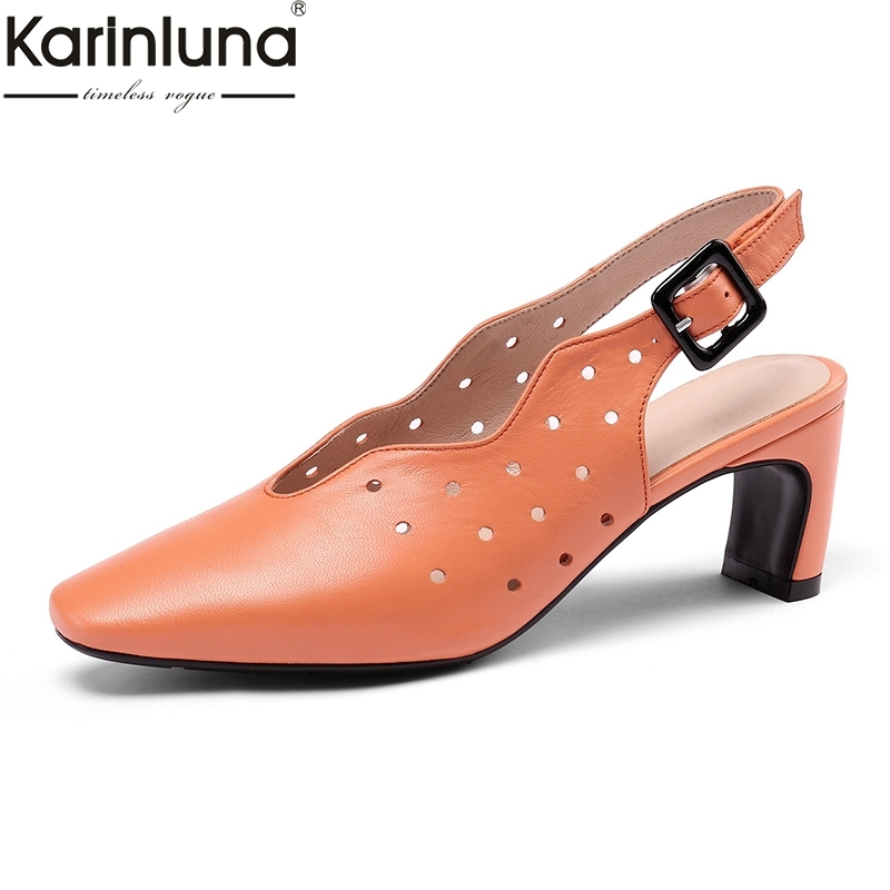 Brand New Big Size 34 43 women s Genuine Leather Elegant High Heels Shoes Woman Casual