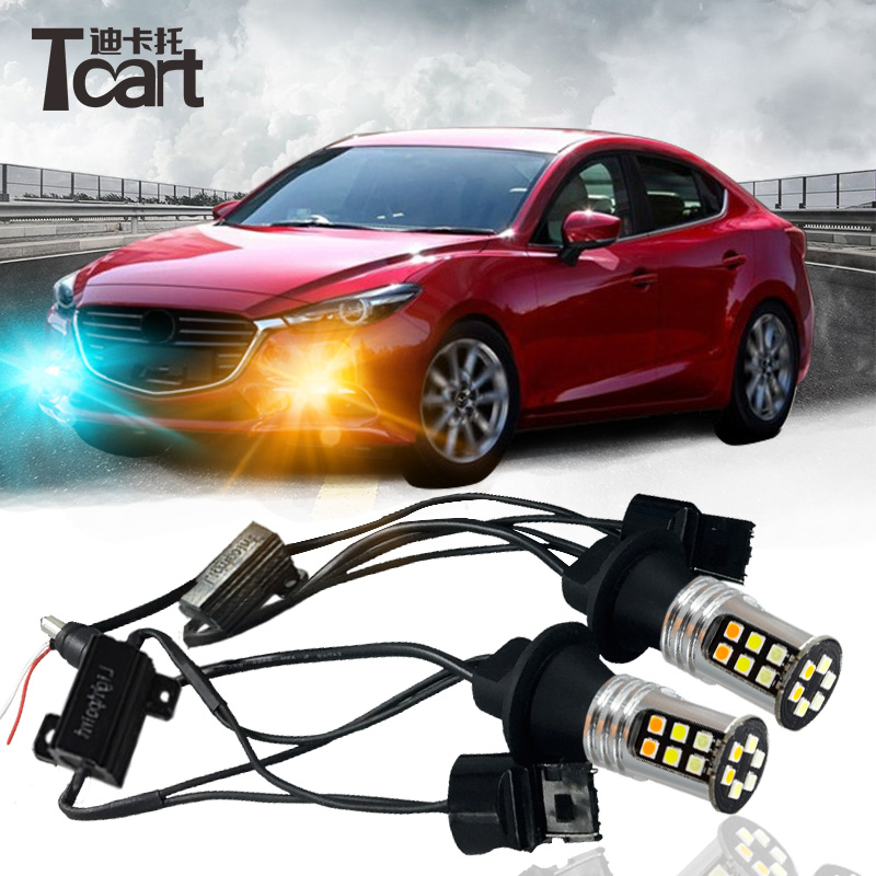 Tcart 2x Auto Led Lamps DRL Daytime Running Lights Night Time Running Light Yellow Turn Signals T20 WY21W For Mazda 3 2017-2018 tcart 1 set auto led bulbs car drl daytime running lights night drl yellow turn signals lamps py21w bau15s for mazda 3 2003 2009