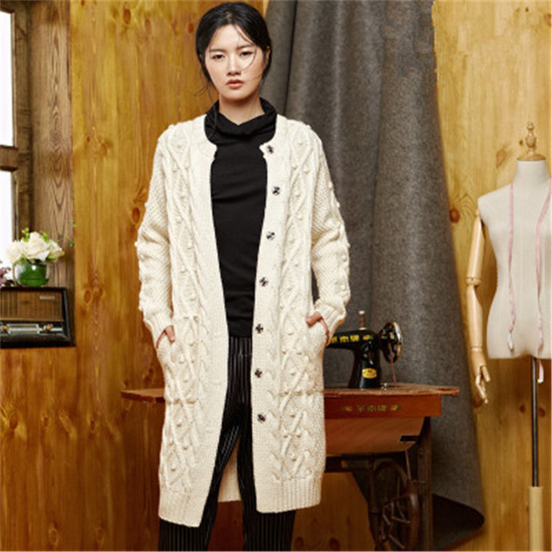 100%hand Made Wool Oneck Knit Women Fashion Solid Loose Long Single Breasted Cardigan Sweater One&over Size
