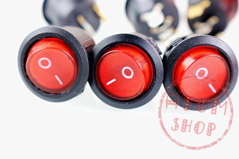 Nouveau 10 pcs KCD1 ROUGE LED Dot Lumière Voiture Bateau À Bascule Ronde ON/OFF SPST 3 Broches À Bascule Bouton Interrupteur 220 V MAX 250 V DIY accessoires