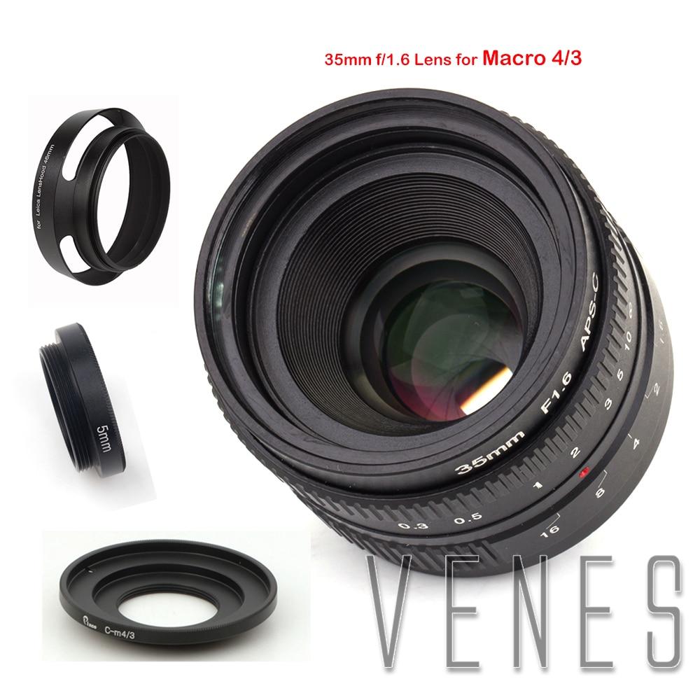 35mm f/1.6 APS-C Lens + Lens Hood + Macro Ring +16mm C Mount adapter for Nikon 1 Micro 4/3 Pentax Q Nex Fuji for canonM camera 35mm f1 7 cctv lens macro rings c m4 3 adapter ring set for olympus panasonic silver