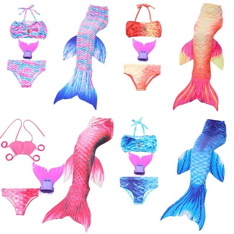 4pcs Mermaid Tail For Swimming Kids Girls Swim Suit With Monofin Birthday Gift Children Swimsuit Flipper