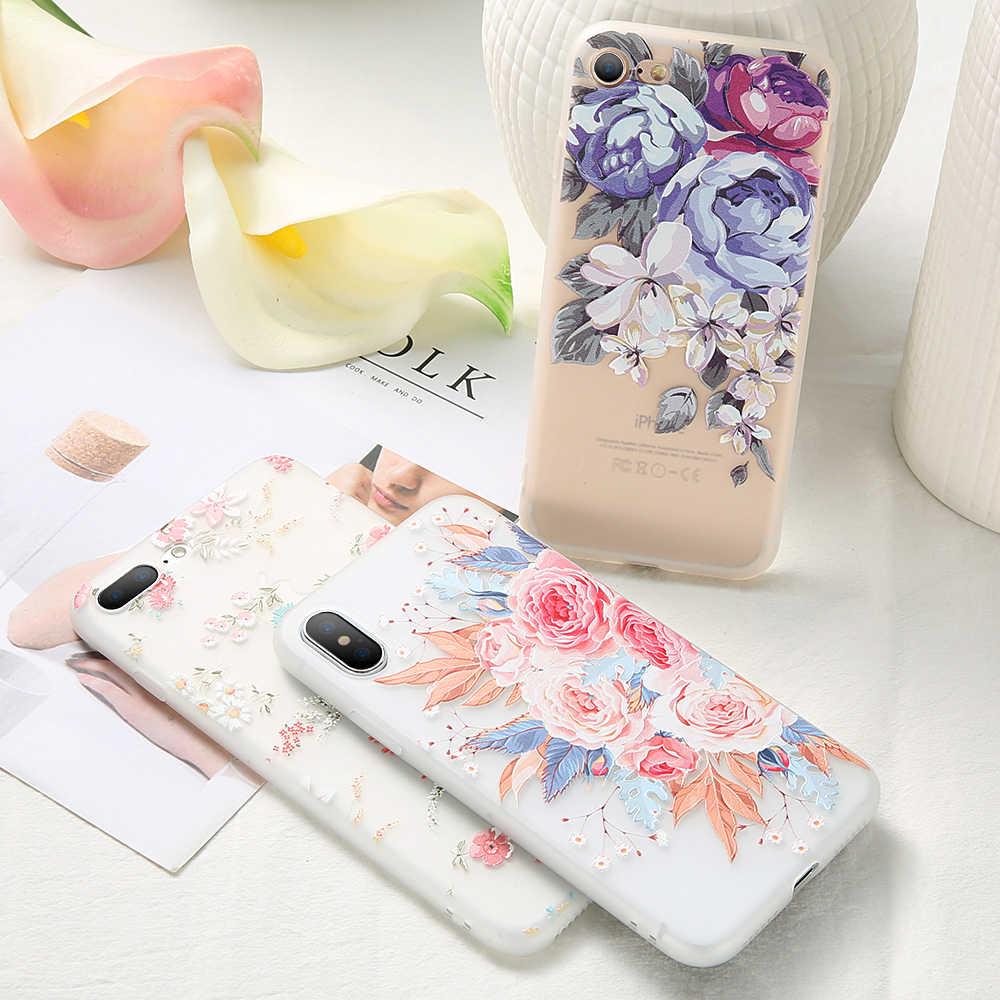 Kisscase цветочным рисунком чехол на айфон 6 6S 7 5s плюс Чехол Мягкий Силиконовый Цветочный защитную крышку для айфон 5S se плюс 8 x10 крышка