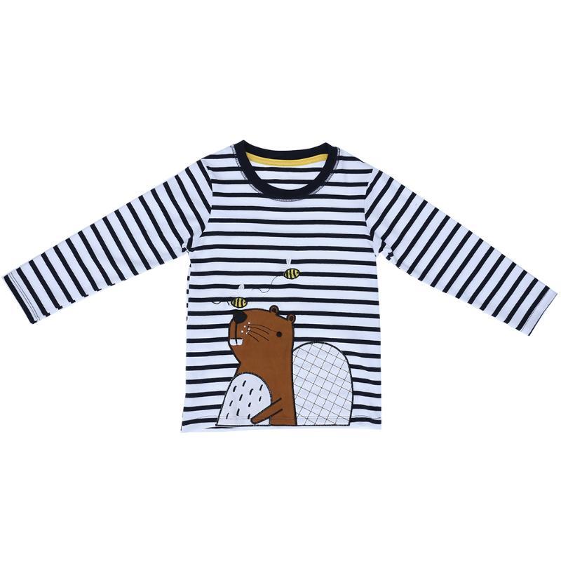 Осень 2017 г. детская одежда с длинными рукавами в полоску хлопковая футболка дети мультфильм Мышь футболка для маленьких мальчиков в полоску...
