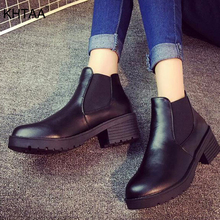 Elastic Band Autumn Casual Women Ankle Boots Platform Thick Bottom Chunky Heels
