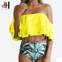 DA HAI Brand 2017 Split Hard Package Gather Candy Color Digital Printing Bikini Style Swimsuit Bikini