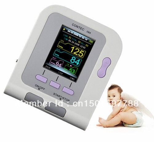 CONTEC08A Digital Infant Blood Pressure Monitor+ Cuff+SPO2 PROBE contec electronic digital arm blood pressure monitor 08c spo2 probe heart beat meter sphygmomanometer with oximeter probe