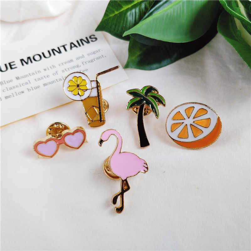 Trendi Jantung Kacamata Pink Flamingo Orange Jus Kelapa Enamel Bros untuk Wanita Kemeja Kerah Pin Ransel Lencana