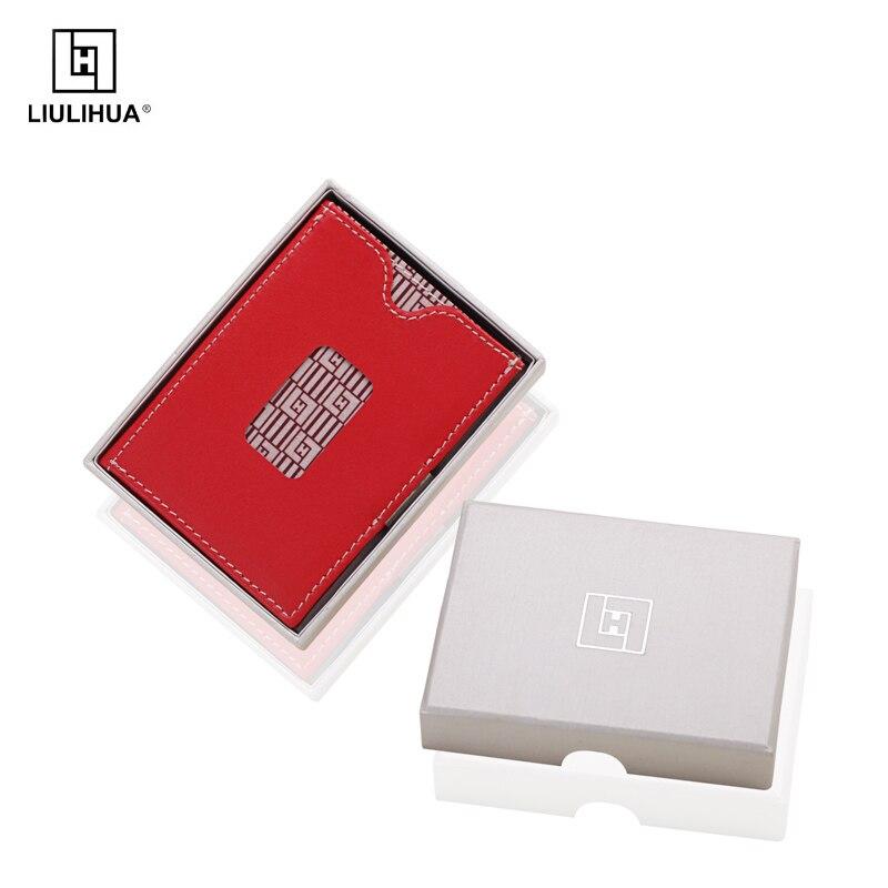 Liulihua Business 3 fois ID/carte de crédit avant poche portefeuille véritable porte-cartes en cuir unisexe femmes hommes en cuir sac à main