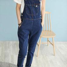 0a3fbad5 Nuevo otoño las mujeres azul Denim mono Casual bolsillo Jeans mameluco moda  mujer xcLong mono