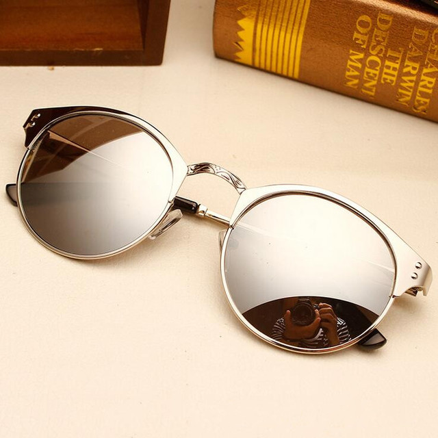 7cad9f5c01d High Quality Retro Metal Mirror Sunglasses Ladies Brand Designer Women Men  Round Sunglasses Small Eyewear Oculos