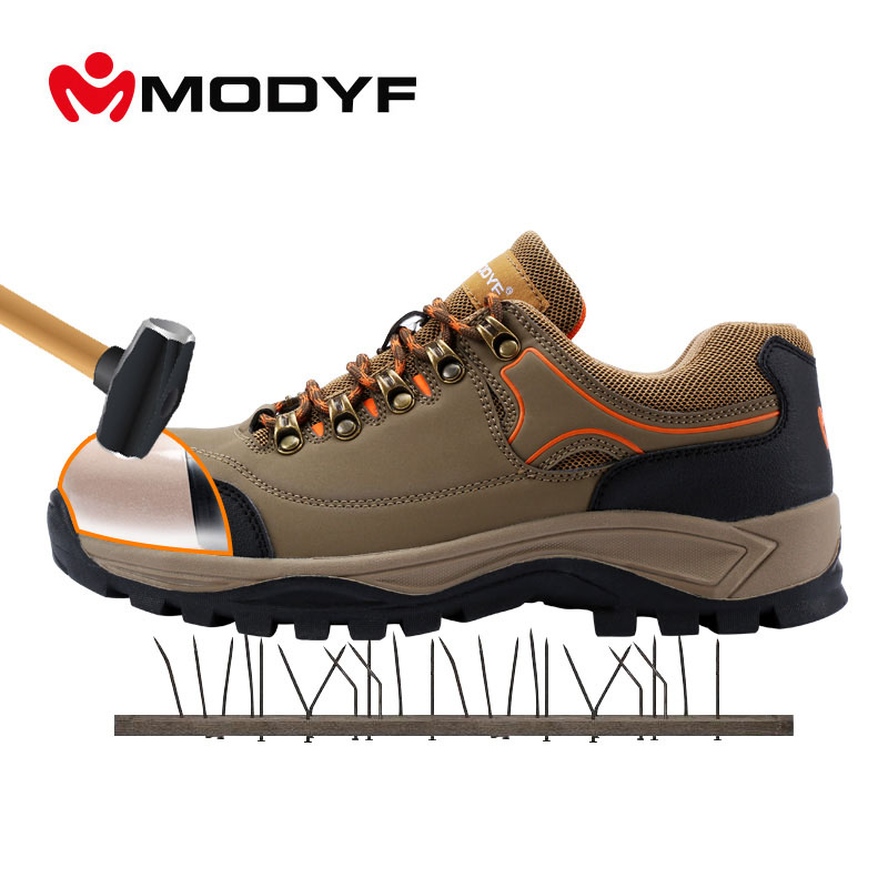 Modyf Men fall winter warm steel toe cap work safety shoes simple skid resistance outdoor boots puncture proof footwear pair of safety adjustable high impact resistance outdoor kneepad