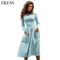 Zkess Women Fashion Skater Dress Bateau Collar O Neck Casual Big Pockets Long Sleeves Fit And
