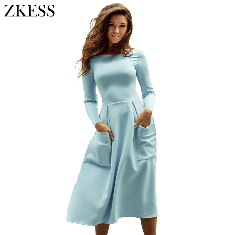 Zkess Women Fashion Skater Dress Bateau Collar O Neck Casual Big Pockets Long Sleeves Fit and Flare Midi Dress Back Zip LC61799