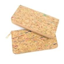 Rustikalen Natürliche Farbe Lange Frauen Kork Brieftasche Vegan Kreditkarte ID Halter Klassische Frauen Brieftasche