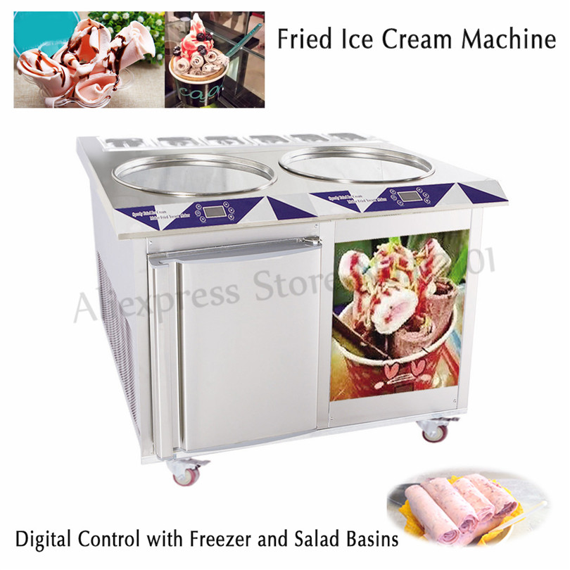 Fried Rolled Ice Cream Machine Electric Yogurt Roll Ice Pan Machine 55cm Big Pan+6 Compartment Built-in Freezer Digital Control ce fried ice cream machine stainless steel fried ice machine single round pan ice pan machine thai ice cream roll machine