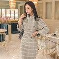 2017 nueva primavera las mujeres de partido atractivo de la vendimia de lana bodycon midi oficina plaid dress vestidos vestidos de la manga del batwing más tamaño