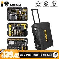 DEKO 255 шт Набор инструментов с шкаф для инструментов метрики торцевой ключ ручной инструмент комплект футляр для хранения отвертка с гаечным