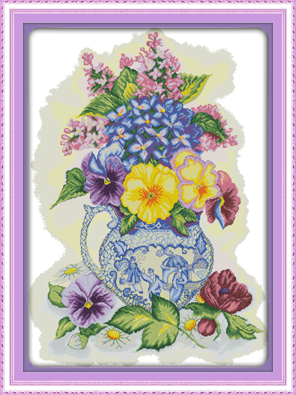Counted Printed On Fabric Dmc 14ct 11ct Cross Stitch Kits,embroidery Needlework Sets Forceful Three Color Vase Home Decor Removing Obstruction