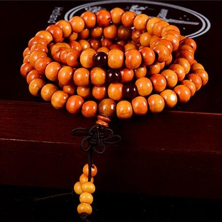 108 бусины 8 мм натуральные буддийские бусы из сандалового дерева будды деревянные молитвенные бисерные узелки черные эбеновые унисекс Мужские браслеты и браслеты для женщин - Окраска металла: 2 brown