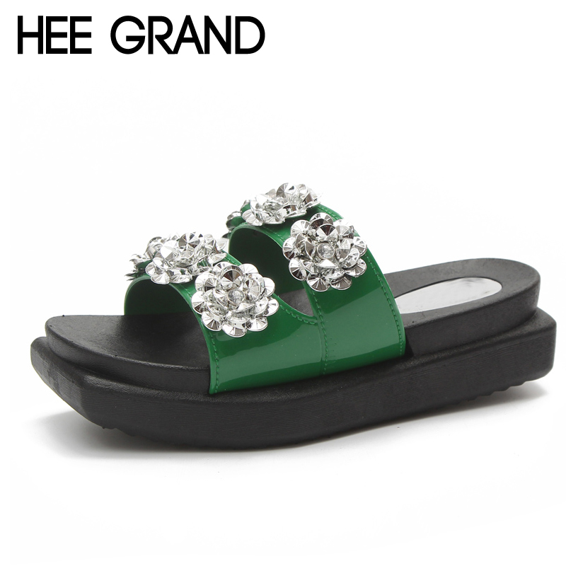 HEE GRAND Fashion Square Toe 2018 Bling Bling Flower Slippers Summer Beach Flats Slip On Women Shoes 3 Colors Size 36-40 XWT1073 hee grand 2017 crystal flip flops casual summer slides beach slip on flats platform bling jelly shoes woman slippers xwz4438