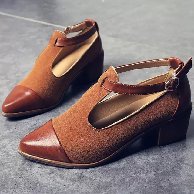 Vintage small pointed women shoes retro wood with British wind small pointed women's shoes 1