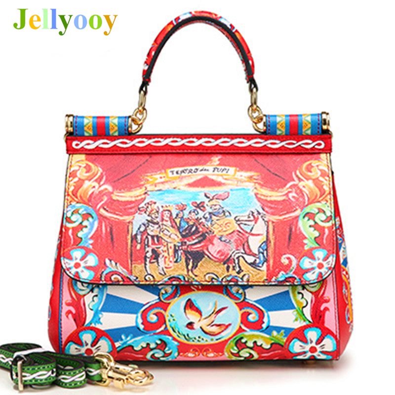 Famous Designer Luxury Brand Sicily Fashion Printed Genuine Leather Platinum Bag Handbag Lady Messenger Shoulder Bags Sac A Main rocooart k2 water transfer nail art sticker chinese ink rose flowers christmas nail wraps sticker manicure decor decals foils