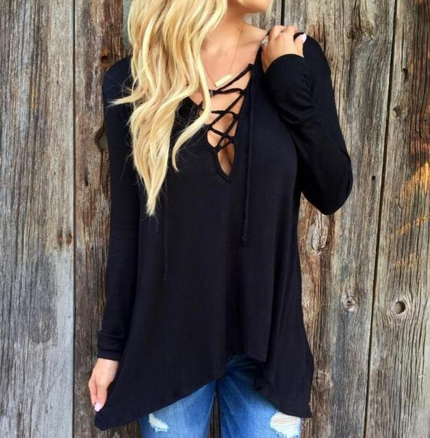7a9ddbb4d79e50 Plus Size Hollow out Strappy Front Women Autumn Lace Up Causal Long Sleeve  Shirt Women Blouses Ladies Tops Blouse Tie up